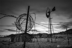 Back Country (dougsooley) Tags: california blackandwhite windmill monochrome farmhouse canon fence landscape mono landscapes blackwhite sandiego farm fences farmland backcountry canonlenses canonlens ojh oldjulianhighway canon1dx dougsooley