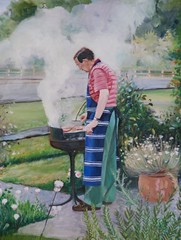 Uncle Martin, and a very English barbecue! (Plumkin) Tags: flowers portrait england people english cooking garden outdoors countryside uncle smoke cottage plum tranquility apron barbecue rosemary childhoodmemories cottagegarden ovelgonne