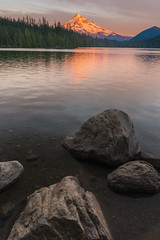 Education is not the filling of a pail, but the lighting of a fire... (ferpectshotz) Tags: lake oregon portland mthood lakeshore lostlake cascaderange mountainlitbysunset