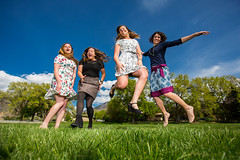 Jump with friends (Flickr_Rick) Tags: woman girl sarah outside casey spring jump jumping roommates erin bluesky skirt greengrass jumpology