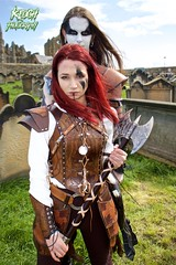 IMG_9403 (Neil Keogh Photography) Tags: red brown white black abbey graveyard leather silver cross gothic goth blouse crucifix axe trousers warrior facepaint viking armour gravestones waistcoat steampunk whitbyabbey whitbygothweekend armguards shoulderguards april2016