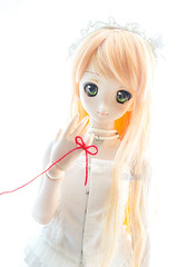 Red string of fate (Alix Real) Tags: red orange ball asian doll dolls skin dream super sd fate wig corset string bjd normal dollfie luts volks abjd basic mueca jointed dollheart ddh bjds ddii abjds ddh06
