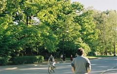 (Leonor F) Tags: road travel light italy sun tree green film nature vintage 50mm daylight back spring kodak faceless turin portra yashica kodakportra filmisnotdead
