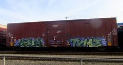celm - tyme (timetomakethepasta) Tags: boys train graffiti moms ugly boxcar freight tr tyme ktc celm