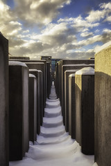 Snow and Stone (world4photos) Tags: travel snow berlin tourism stone germany memorial quiet culture jewish deric monumet canon5dmarkii