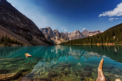 """Moraine lake Wide Angle (wimvandemeerendonk, back home) Tags: wild sun lake canada color colour reflection tree green water colors rock contrast outdoors rocks colours bright sony ngc sigma npc alberta banff ba moraine greatphotographers abigfave cans2s sigmaultrawide 400449faves wimvandem """"sonyflickraward"""