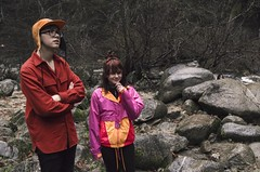 Oliver & Brownwyn (lordgogurt) Tags: life lighting trees light portrait people nature water face hat rock creek river garden outdoors person daylight woods rocks day outdoor body being duo pair gardenofeden group valley figure ravine gorge daytime eden