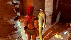 389 (Beth Amphetamines) Tags: pink wallpaper woman screenshot gallery cross arms basement redhead jeans short ponytail cyborg lizzy ruined cutoff cybernetic azar cutoffs pickman fallout4 pickmans