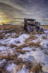 parked for the season (Ryan Wunsch) Tags: winter sunset snow canada cold ford abandoned truck rusty saskatchewan