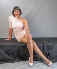 A Peek In Pink! (kaceycd) Tags: pumps highheels s tgirl stilettoheels pantyhose crossdress spandex lycra tg stilettos minidress sexypumps stilettopumps