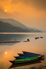 PHEWA LAKE IN THE EVENING (::: a j z p h o t o g r a p h y :::) Tags: trip travel nepal sunset sky cloud mountain lake reflection tourism water sunrise evening boat pond hill pokhara waterreflection phewalake