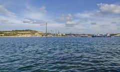 Industrial (Preston Ashton) Tags: ocean blue sea chimney sky industry water sunshine clouds boats industrial waves sunny malta sail