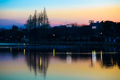 Waterside - Lights in the evening (Mototaka Tsujima) Tags: park winter japan zeiss tokyo evening nikon f14 85mm 日本 東京 冬 夕方 d610 ニコン 浮間公園 ukima zf2 プラナー planart1485 カールツァイス