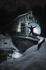 Light at the Ruins (markf5020) Tags: park nightphotography bridge winter snow lightpainting mill water night waterfall nikon ruins nightscape quebec ottawa gatineau ncr d610 1835mm carbidewilson markf5020
