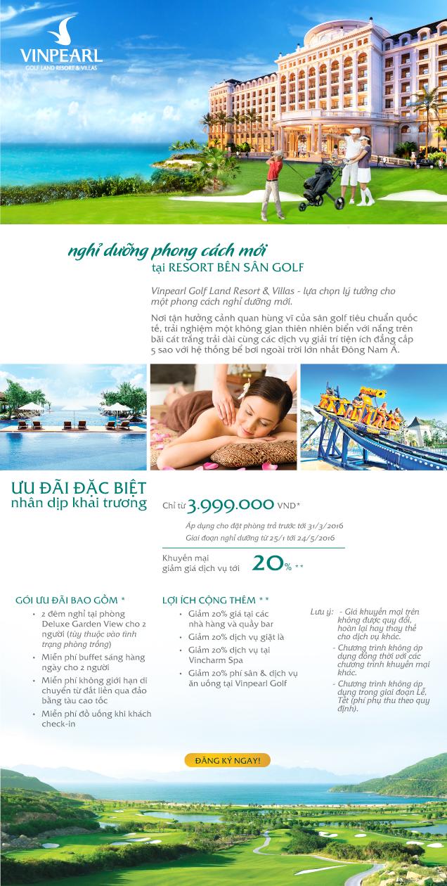 Vinpearl Golf Land Resort & Villas - Ưu đãi đặc biệt nhân dịp khai trương