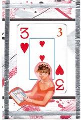 3 of Hearts (booboo_babies) Tags: gambling art collage hearts handmade valentine retro mailart valentinesday playingcard 2016