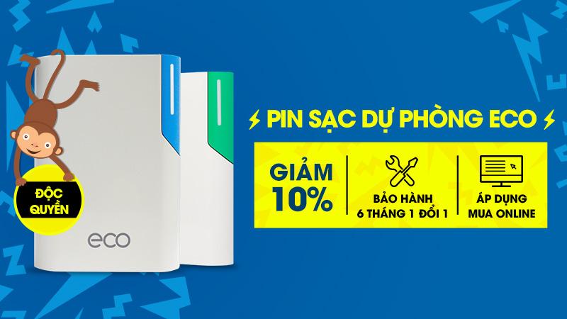 Giảm ngay 10% pin sạc dự phòng ECO khi đặt mua Online