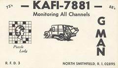 G Man & Puzzle Lady - North Smithfield, Rhode Island (73sand88s by Cardboard America) Tags: qsl cb cbradio vintage garbageman puzzle northsmithfield rhodeisland