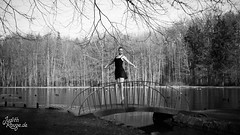 CuoreDiDiamante II (judithrouge) Tags: wood bridge blackandwhite ballet lake forest see monochromatic dancer elegant schwarzweiss brücke wald tänzerin
