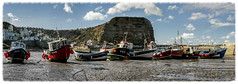 Staithes Harbour - March 2015 (Katybun of Beverley) Tags: seascape landscape boats coast boat sand village harbour cliffs coastal coastline northyorkshire fishingvillage staithes cowbar