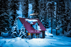 Mountain Cabin (James Duckworth) Tags: christmas trees winter chimney snow cold cabin fireplace colorado snowcovered redroof winterscene chimneysmoke jamesduckworthphotography