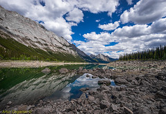 Medicine Lake, Jasper National Park, Alberta, Canada (Artvet) Tags: sky lake canada mountains water clouds rockies rocks jasper wilderness jaspernationalpark medicinelake