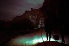 A una hora y media (Santiago Forero Molano) Tags: railroad silhouette night train bag noche weird colombia stones lantern silueta rocas maleta linterna cundinamarca suesca carrilera