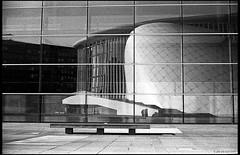 r e f l e c t i o n (j.vandergaag) Tags: reflection film 35mm yashica kirchberg luxemburgcity yashicaelectro35gt philharmonyluxembourg europeanconventioncenter