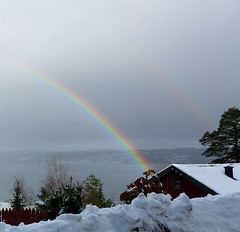 Pot of Gold here somewhere ??? (goldiesguy) Tags: trees snow tree water buildings outdoors rainbow winterscene goldiesguy