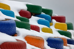 tyres (bkellerstrass) Tags: reifen tyres schnee snow bunt farben blau grün rot gelb blue green red yellow berg mountain brilliant weird skurril winter struktur texture colourful