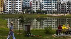 Mirpur DOHS (ASaber91) Tags: park lake water bench dhaka bangladesh mirpur dohs