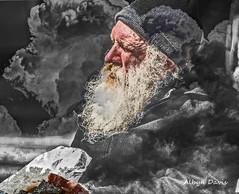 gentleman with sandwich #3 (albyn.davis) Tags: portrait man color manipulation elderly selective layered