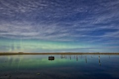 Tropical Prairie (John Andersen (JPAndersen images)) Tags: calgary night fence reflections stars farm aurora granary aurorahdr