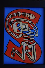 S is for Skeleton (Empress of Blandings) Tags: blue orange fish illustration painting skeleton skull graphics acrylic letters s doodle bones letter bone doodles alphabet skeletons fishbones acrylicpaint bony sletter