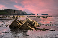 The Admiral von Tromp (Sylvia Slavin ARPS (woodelf)) Tags: sunset sea water photoshop reflections seaside tromp von shipwreck whitby wreck admiral saltwickbay