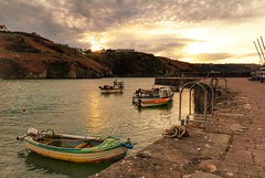After It All (garethleethomas) Tags: sunset sea sky water clouds boats boat harbour