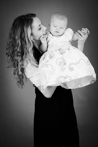 Cute woman and baby B&W