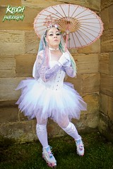 IMG_9350 (Neil Keogh Photography) Tags: pink flowers blue white green abbey graveyard yellow dreadlocks female umbrella fence shoes purple candy boots lace bra gothic goth goggles trainers tattoos gloves corset braids spikes gravestones tutu choker cybergoth whitbyabbey dogcollar fishnettights whitbygothweekend fishnettop april2016