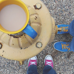 119/366 Looking Down: From Above/Downward/Notice (making portraits fun) (Rhadonda1) Tags: cup coffee hydrant converse