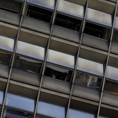 Athens 2016 (No Great Hurry) Tags: city windows brown abstract building geometric architecture reflections beige athens architectural diagonal greece 70s 1970s robinbarr nogreathurry constructuralart robinmauricebarr
