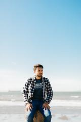 Sunshine boy (Gracia Chua Min Yi) Tags: blue sea portrait canada beach nature vancouver skies outdoor joy columbia british wreck plaits