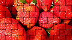 LOOKING INSIDE A BASKET OF STRAWBERRIES (Visual Images1) Tags: red macro 6ws strawberries weave ipiccy