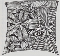 Steampunk Flower Power Monotangle (molossus, who says Life Imitates Doodles) Tags: patterns steampunk zentangle zendoodle tanglepatterns zentangleinspiredart patterncollectionscom