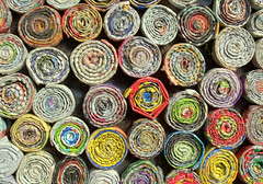 Rolled Paper (Tony Worrall Foto) Tags: color rabbit art paper fun thailand colours arty recycled many sold tube twist collection made round rubbish roll colourful tight recycle quirky fit rolled paperrabbit