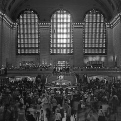 Grand Central (Johuhe) Tags: new york city people bw white motion black blur apple monochrome station train hall big kodak tmax crowd central grand terminal mat 124g epson 100 yashica xtol v500