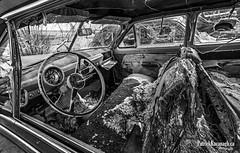 Church Buggy - BW (Pat Kavanagh) Tags: canada abandoned car farm rusty alberta rusting homestead taber