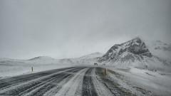 Bearbeitet (mniesemann) Tags: street winter sky white mountain snow cars clouds island iceland wind trails coldness klte schneetreiben strase 500px ifttt