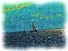 Sailboat CP 1 (Fire Engine Red) Tags: sky canada nature water lakeerie essexcounty horizon digitalart knot leamington sailboats grapevine southwesternontario havingfunwiththis corelpainteressentials5 iloveplayingwithcorelstuff