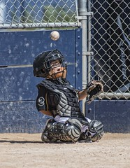 Tipped Foul (shottwokill) Tags: sports kids nikon baseball catcher nikkor d800 littleleague 200500 coachpitch tipfoul lionvsbruins