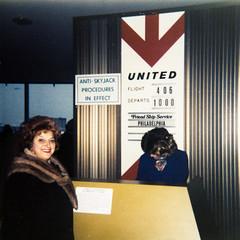 grandmom - airport 1973 (Doctor Casino) Tags: michigan unitedairlines grandmom ticketcounter florentine friendshipservice evelynjudygodelgirth antiskyjackproceduresineffect